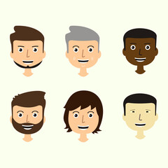 Set of men's faces expressing positive emotions. Human faces with smiles. web avatar icons. Vector flat design illustrations.