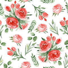 Seamless pattern with roses. Watercolor hand drawn