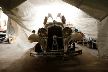 A car undergoes restoration in Canelones, on the outskirts of Montevideo city