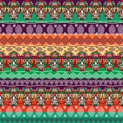Seamless pattern, traditional elements. Colorful skulls with weave. Boho stripe