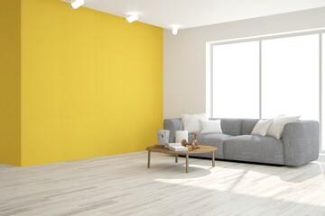Yellow modern room with sofa. Scandinavian interior design. 3D illustration