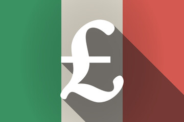 Long shadow  Italy flag with a pound sign