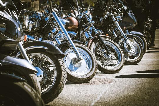 motorbikes in line
