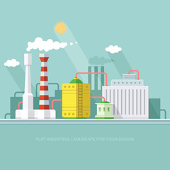 industry manufactory building. Factories producing oil and gas, metals and rubber, energy and power. Destroys nature. Icon of eco friendly factories. Flat Vector background illustration