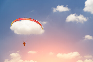 Wall Murals Sky sports Paragliding to cloud and blue sky