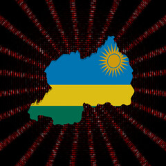 Rwanda map flag on red hex code burst illustration