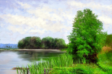 Landscape, pond, oil paintings, art
