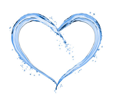 Splashes of water in the shape of the heart, isolated on white background