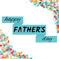 Happy father's day greeting card. Vector text illustration with red mustache ribbon isolated on the white background with confetti