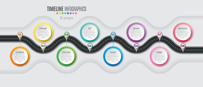 Navigation map infographic 8 steps timeline concept. Winding roa