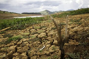 Drought soil in brazilian cantareira dam