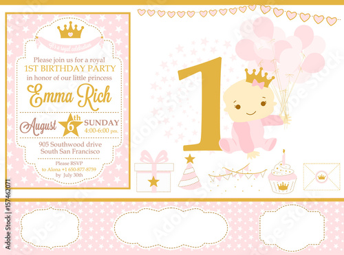 Pink And Gold Princess Party Decor Cute Happy Birthday Card Template Elements
