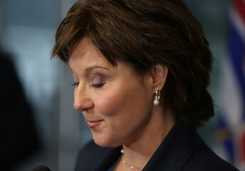 British Columbia's Premier Christy Clark speaks to the media in Vancouver