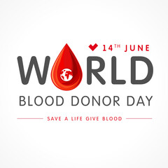 World blood donor day lettering. Vector illustration of Donate blood concept with abstract shape blood drop for World blood donor day June 14