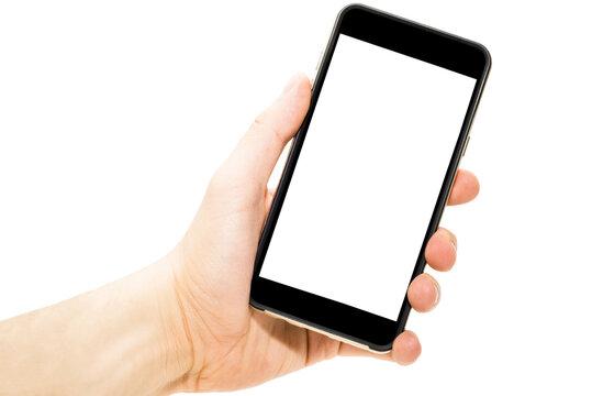 Telefon w ręce  ekran biały pusty wyświetlacz do wrzucenia zawartości izolowane białe tło