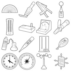 Measure tools icons set, outline style