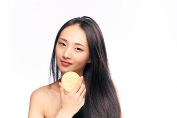 woman asian with sponge, beauty, spa