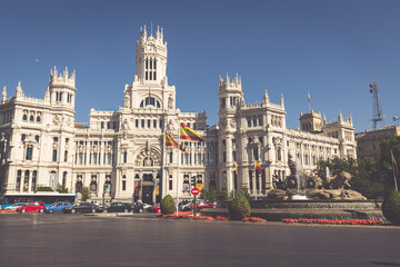 Keuken foto achterwand Madrid Madrid,Spain-May 27,2015: Cibeles Palace and fountain at the Plaza de Cibeles in Madrid, Spain