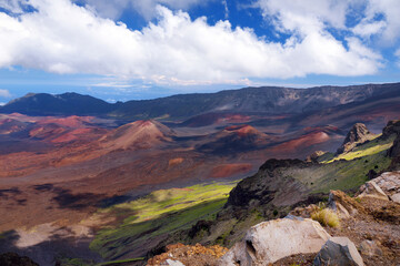 Stunning landscape of Haleakala volcano crater taken at Kalahaku overlook at Haleakala summit, Maui, Hawaii