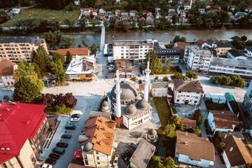 Mosque in Zepce, Bosnia. Aerial.