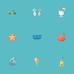 Flat Castle, Sea, Sea Star And Other Vector Elements. Set Of Summer Flat Symbols Also Includes Kite, Cancer, Fly Objects.