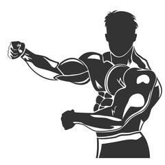 icon of posing bodybuilder, vector illustration