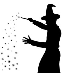 Silhouette of teenage boy wizard with hat creating magic