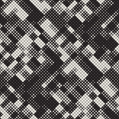 Modern Stylish Halftone Texture. Endless Abstract Background With Random Size Squares. Vector Seamless Squares Mosaic Pattern.