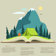 Nature in opened book. camping graphics,  outdoor traveling illustration
