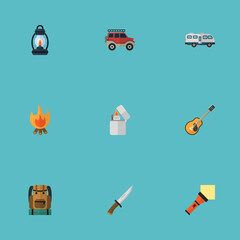 Flat Lighter, Caravan, Music And Other Vector Elements. Set Of Camping Flat Symbols Also Includes Lamp, Backpack, Bag Objects.