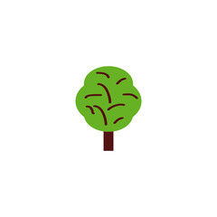 Flat Tree Element. Vector Illustration Of Flat Wood Isolated On Clean Background. Can Be Used As Tree, Wood And Nature Symbols.