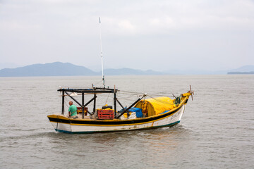 Fishing boat in ocean in Brazil