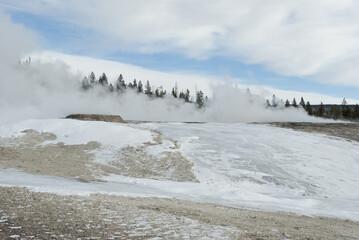 Winter, Snow, Upper Geyser Basin, Yellowstone NP