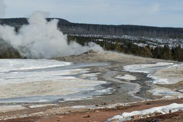 Old Faithful Erupting, Winter, Yellowstone NP