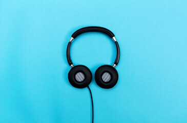 Headphones on a blue background