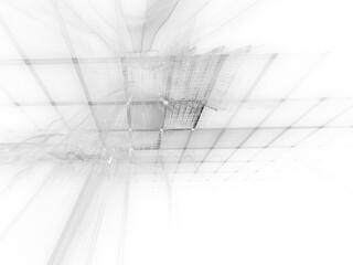 Abstract background element. Three-dimensional composition of repeating grids. Information technology concept. White texture.
