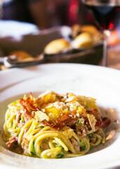 Italian Pasta Carbonara Dish