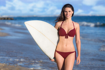 Gorgeous model brunette surfer girl surf chick with fit toned body abs flat stomach in bikini