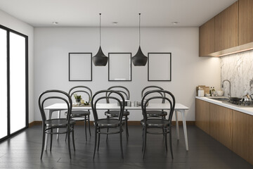 3d rendering loft wood kitchen with dining table and mock up frame