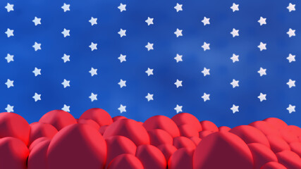 Abstract background for 4th of July Independence Day of United States. Red clouds, blue sky and white stars. 3d render picture.