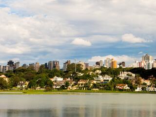Houses and lake in Barigui park in Curitiba - Parana - Brazil