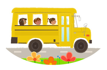 School Bus Icon - Cartoon clip-art of a school bus with children. Eps10