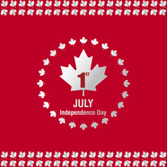 Happy Canada Day! Red Background with Canada Flag Leaves