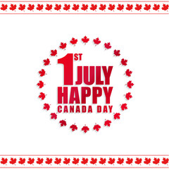 1st July Happy Canada Day! White Background with Canada Flag Leaves