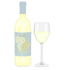 Bottle of white wine and a glass on a white background