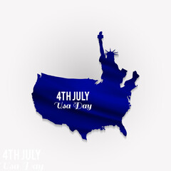 4th July! America Day! Happy Independene Day! Statue of Liberty and America's Map on White Background