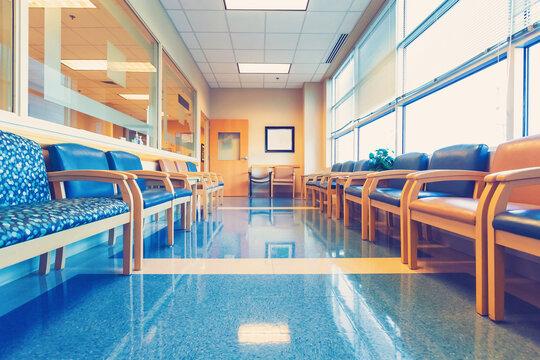 Empty blue interior waiting room
