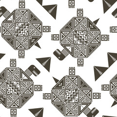 Бесшовный фон с коричневым графическим изображением черепах, декорированных геометрическим узором, и треугольников между ними.
