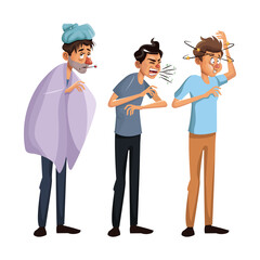 white background set full body standing sick people male vector illustration