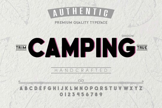 Font.Alphabet.Script.Typeface.Label. Camping typeface.For labels and different type designs